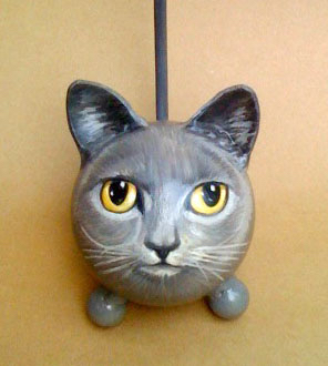 Gray Painted Cat Urn