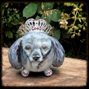 Painted Poodle Urn with Tiara